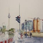 Baustelle des Berliner Stadtschlosses_2013_30 x 40 cm_Aqu. auf 600 g Bütt.