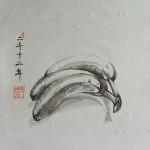 Triptychon das leben der Bananen_2012_o.Teil_18 x 21 cm_ tuschmalerei auf Korea Papier